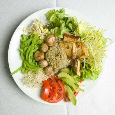 ensalada, comer, sano