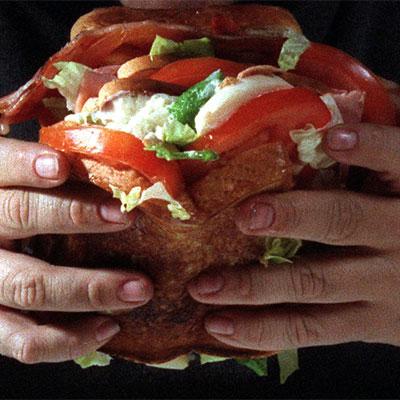 hamburguesa, comido, exceso