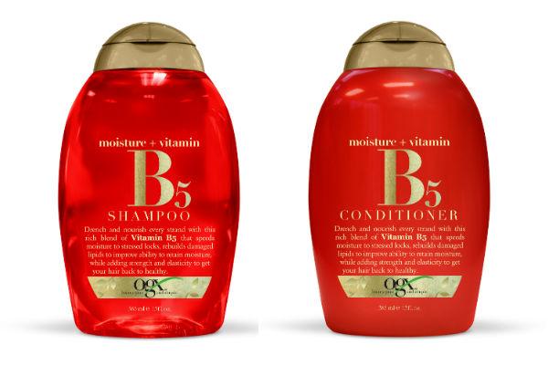 Shampoo y acondicionador Vitamina B5. Estos productos ayudan a  nutrir la capa interna del cabello con humedad, mientras repara las áreas dañadas para darle un brillo saludable y vibrante.