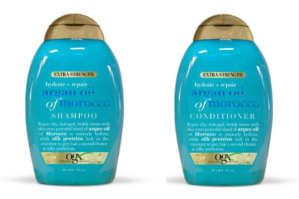 Shampoo y acondicionador de aceite de argán extrafuerte de marruecos entregan hidratación al cabello.