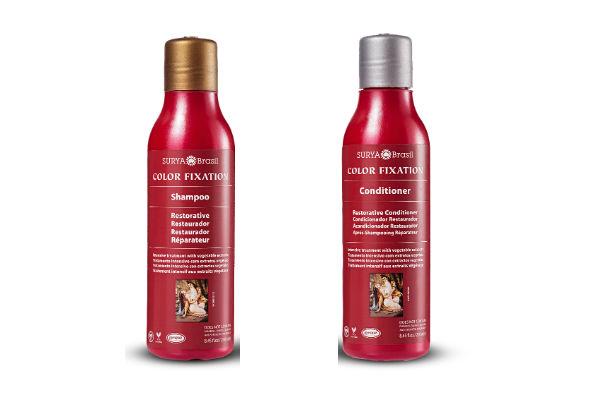 Shampoo y acondicionador Color Fixation. Estos productos reconstruyen el daño de la fibra del cabello, reparan las puntas quebradizas, restauran el brillo y aportan vitalidad al pelo coloreado.