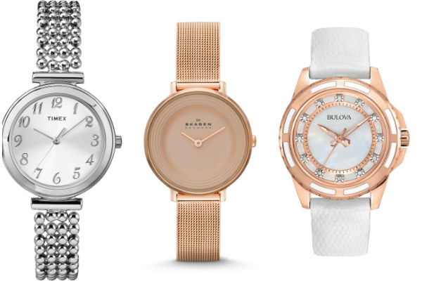 Reloj Timex plateado resistente al agua con pulsera de acero inoxidable. Reloj Skagen oro rosa de cierre plegable Push-Button con Seguridad. Reloj Bulova blanco de acero inoxidable en tono oro rosado con esfera de madre-perla.