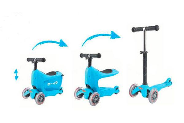 El Scooter Mini2go, disponible en Bebé Urbano, está pensado para niños desde 1 a 5 años y cuenta con un carrito que permite que el niño se siente en él en la primera etapa. Luego, a medida que va creciendo y dominando el scotter se pueden empezar a quitar partes para que vaya adquiriendo más autonomía y así pueda dominarlo y andar solo.