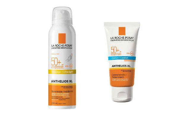 Spray bloqueador para el cuerpo y la cara y gel en crema para el rostro  con alta protección UVA UVB.