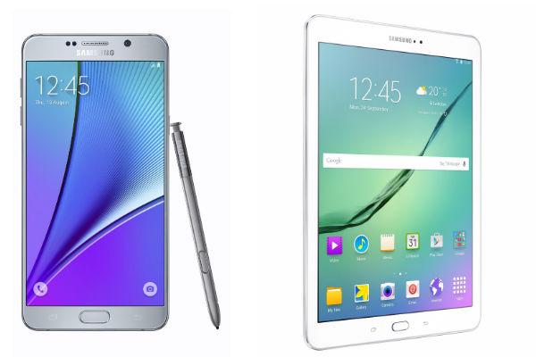 Smartphone Galaxy Note 5 con pantalla grande y Galaxy Tab S2 de Samsung destacado como el tablet más delgado del mercado.