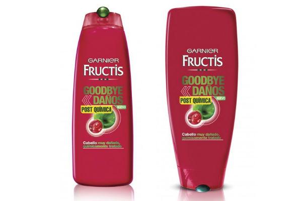 Shampoo y condicionador Garnier Goodbye daños post química. Estos productos sirven para reparar los daños provocados por la coloración, ondulación permanente y alisado químico.
