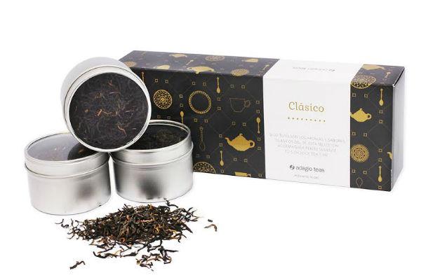 Adagio Teas presenta una cajita espectacular para el progenitor amante del té. Un pack clásico que incluye tres tipos de té negro, perfectos para capear el frío.
