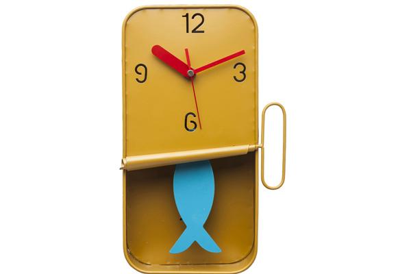 Reloj pared Fish Can  amarillo.