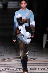 A model presents a creation by Alexander McQueen during the women's F