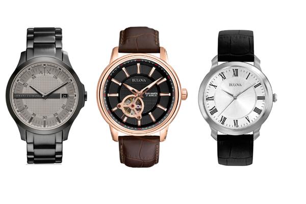 """Los relojes son un regalo clásico para los Papás, que gracias a la creciente oferta de productos, materiales e innovadores diseños son considerados una """"joya para hombres"""". Acá ejemplos de Bulova y Armani Exchange."""
