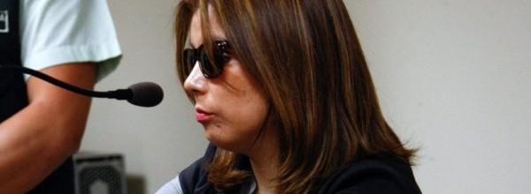 Coyahique, 23 de marzo de 2017 Nabila Rifo, la mujer que perdio sus globulos oculares por una agresion, declara durante el juicio a Mauricio Ortega, el hasta ahora unico imputado por el hecho. Claudio Perez/Aton Chile