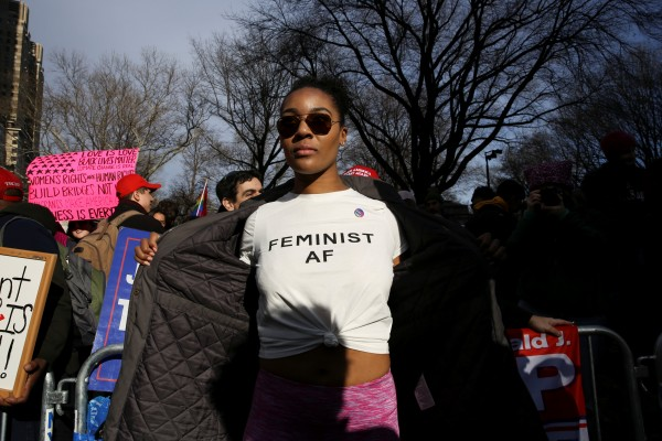 Demonstrators take part in the Women's March in Manhattan in New York City, New York