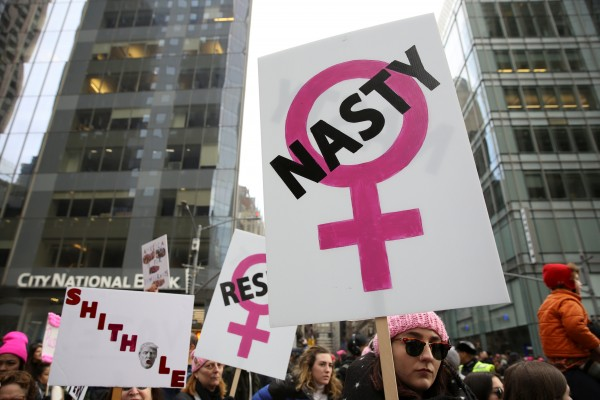 Demonstrators take part in the Women's March in Manhattan in New York City,