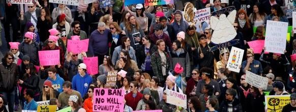 People participate in the second annual Women's March in Los Angeles, California, U.S. January 20, 2018. REUTERS/Patrick T. Fallon USA-TRUMP/WOMEN