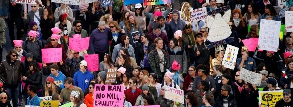 People participate in the second annual Women's March in Los Angeles, California, U.S. January 20, 2018. REUTERS/Patrick T. Fallon USA-TRUMP/WOMEN