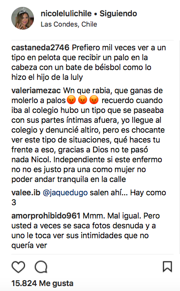 Comentarios publicados por seguidores de @nicolelulichile en Instagram