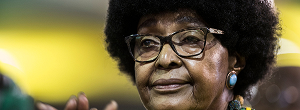 (FILES) In this file photo taken on December 20, 2017 Winnie Mandela, former wife of former president Nelson Mandela, attends the last day of the NASREC Expo Centre in Johannesburg during the African National Congress (ANC) 54th National Conference. Former wife of Nelson Mandela Winnie Mandela has died, according to South African media on April 2, 2018. / AFP / GULSHAN KHAN    FILES-SAFRICA-POLITICS-RAMPHOSA