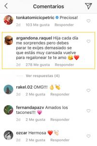 Comentario de Raquel Argandoña publicado en cuenta de Instagram de Kel Calderon.