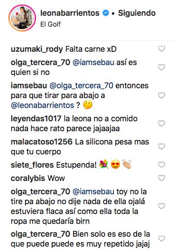 Comentarios publicado en cuenta de instagram de @leonabarrientos
