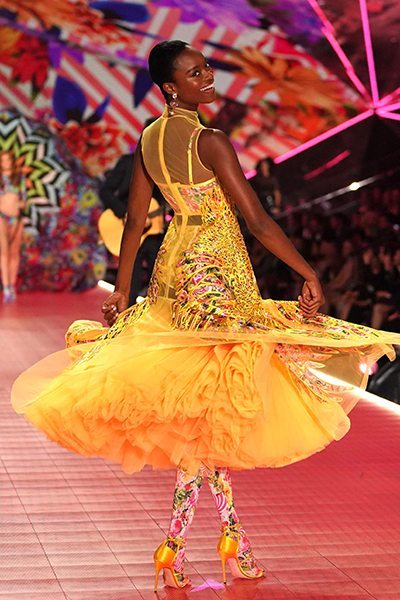 Nigerian model Mayowa Nicholas walks the runway at the 2018 Victoria'