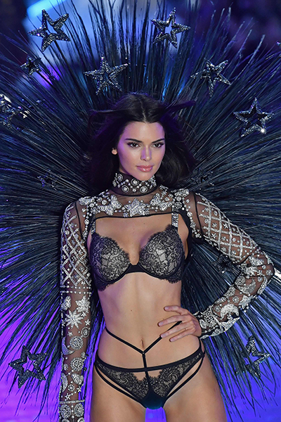 US model Kendall Jenner walks the runway at the 2018 Victoria's Secre