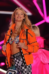 US model Willow Hand walks the runway at the 2018 Victoria's Secret F