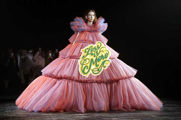 A model presents a creation by Viktor and Rolf during the 2019 Spring
