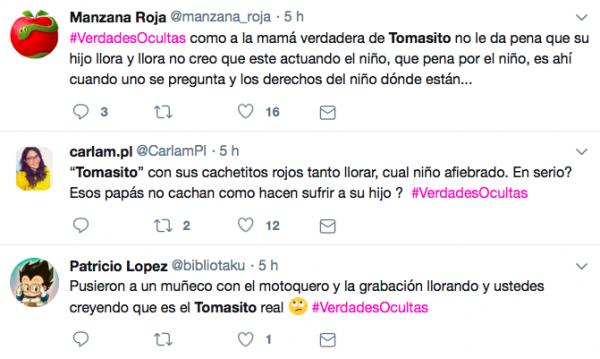 """Usuarios de redes sociales manifestaron su molestia con las escenas donde aparece """"Tomasito"""" en Verdades Ocultas"""