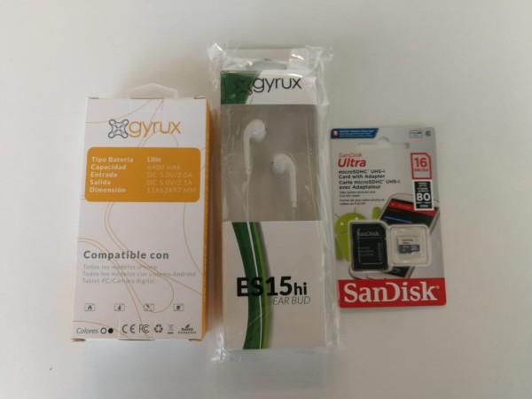 Este kit de productos que encuentras en Mall Connection consta de una batería externa para cargar todos los dispositivos móviles, audífono Gyrux y una memoria micro SD Sandisk, para guardar archivos que ocupan una gran espacio en la memoria de los dispositivos. Y son perfectos para la vuelta a la rutina laboral y para todos los que regresan a clases.