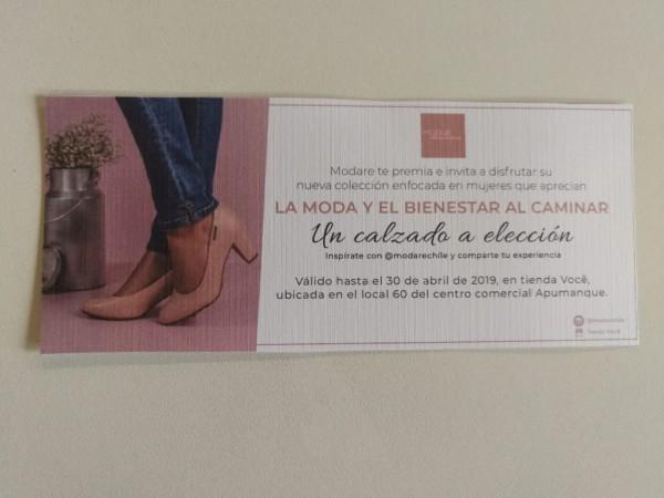 Con esta giftcard podrán canjear un calzado a elección en Modare. (ubicado en Apumanque).
